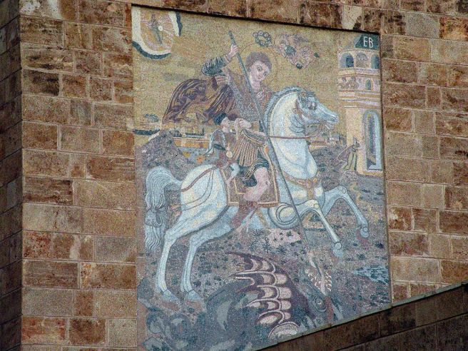 Beirut 27 Painting Of St George Slaying The Dragon Outside St Georges Greek Orthodox Cathedral In Nejmeh Square Place de L'Etoile