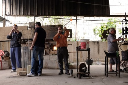 Four-men-working-on-the-Khalife-workshop-in-Sarafand-629x419