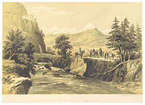 TOBIN(1863)_p447_FALLS_OF_AFKA,_LEBANON